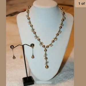 Carolee gold faux pearl necklace & earrings set